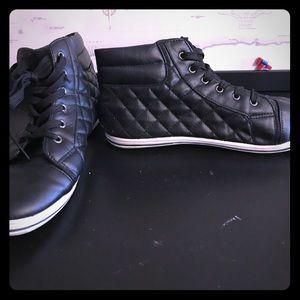 Steve Madden Black Quilted Hightop Sneakers